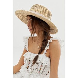 Natural Straw Easy Boater Hat